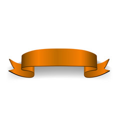 ribbon orange 3d banner sign satin blank vector image