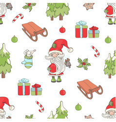santa bell christmas seamless pattern illus vector image