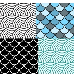 Seamless Fish Scale Pattern Set vector