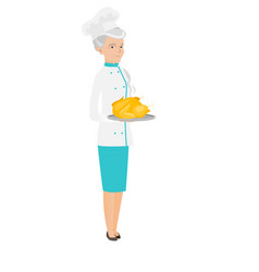 senior caucasian chef holding roasted chicken vector image