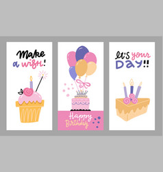 set hand drawn flat doodle for birthday vector image