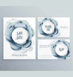 Set of wedding invitation template with flower vector