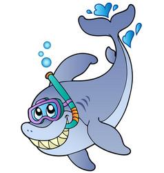 Shark snorkel diver vector