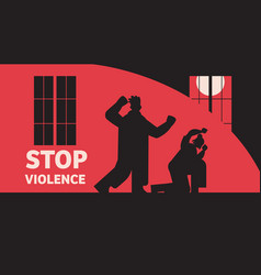 Silhouette angry man punching and hitting woman vector