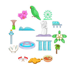 Singapore travel icons set cartoon style vector