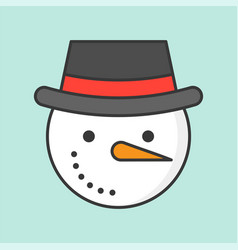 snowman and hat filled outline icon christmas vector image