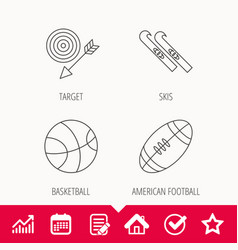 Sport fitness skis and basketball icons vector