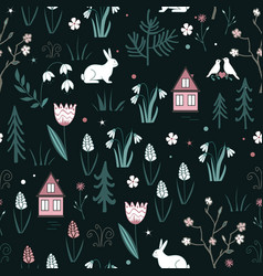 Spring forest seamless pattern with rabbits birds vector