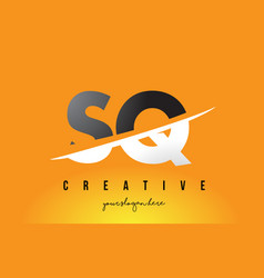 Sq s q letter modern logo design with yellow vector