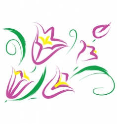 still life with purple flowers vector image vector image