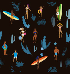 Summertime seamless pattern people having fun on vector