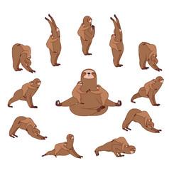 surya namaskara mama sloth yoga vector image
