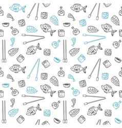 Sushi and rolls seamless pattern Hand drawn vector image