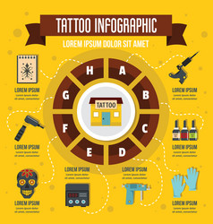Tattoo infographic flat style vector
