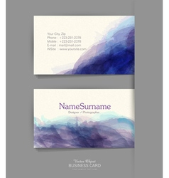 Template business card with a watercolor imitation vector