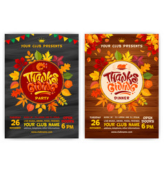 thanksgiving party poster templates set vector image