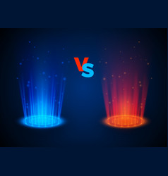 versus glowing spotlight red and blue colors vector image