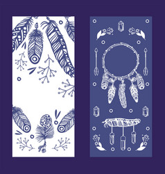 vertical banners with feathers in boho style vector image