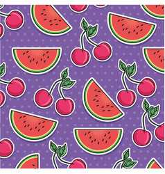 Watermelon and cherry pattern background vector