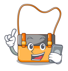 with phone messenger bag on a isolated mascot vector image