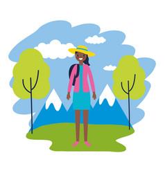 Woman travel nature mountains landscape vector