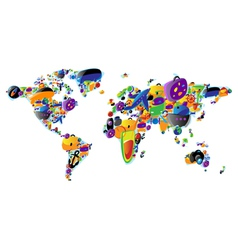 world map colorful icons vector image