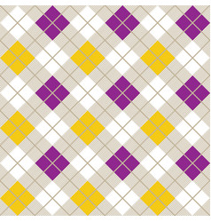 yellow and purple argyle harlequin seamless patter vector image