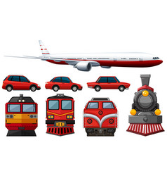 different types of vehicles in red color vector image vector image