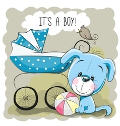 Dog with baby carriage vector image vector image