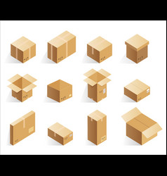 isometric realistic cardboard delivery boxes vector image