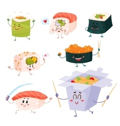 Japanese sushi rolls noodle characters with vector image