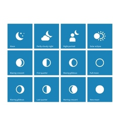 Moon lunar cycle icons on blue background vector image