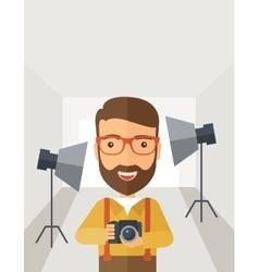 Photographer inside his studio vector image