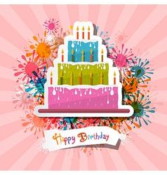 Retro Pink Birthday Background with Cake vector image