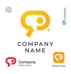 social communication service digital logo modern vector image vector image