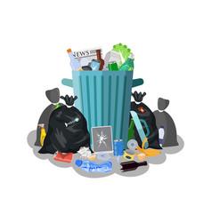 steel garbage bin full of trash vector image