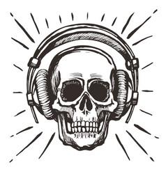 human skull listening music vector image vector image