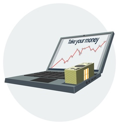 Notebook pc icon with growing success chart vector image