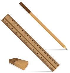 Pencil ruler and eraser on a wooden design Ruler vector image