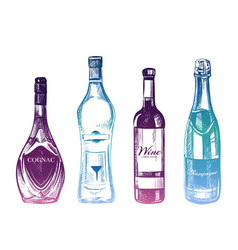 colorful hand drawn alcohol drinks isolated on vector image