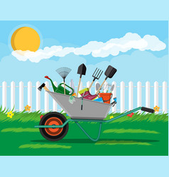 gardening tools set equipment for garden vector image vector image