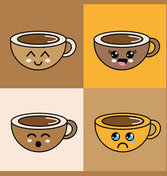kawaii faces coffee cup icon vector image vector image