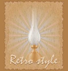 retro style poster old kerosene lamp vector image vector image