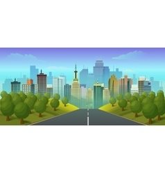 road to city landscape vector image vector image