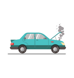 crashed blue car with open hood vector image