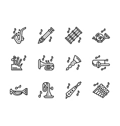 Music wind instruments black line icons set vector image