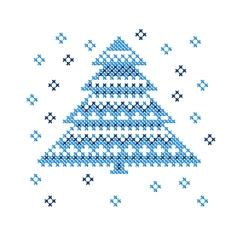 Peasant folk rustic motif of christmass tree cross vector