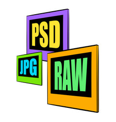 psd jpg raw file icon cartoon vector image