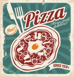 Retro pizzeria poster on old paper texture vector image vector image