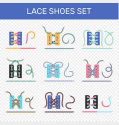 shoe lacing ways transparent set vector image vector image